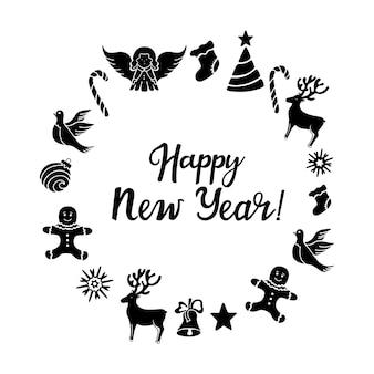 Ange cerf sucette bonhomme en pain d'épice clochette colombe décorations de noël carte de voeux