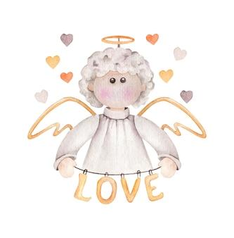 Ange de dessin animé avec mot d'amour isolé sur blanc