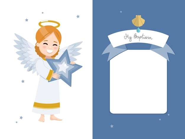 Ange avec une étoile bleue. invitation horizontale de baptême sur une invitation de ciel sombre et d'étoiles.