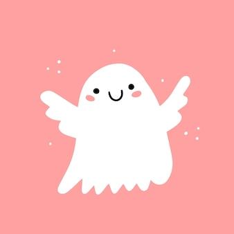 Ange fantôme souriant mignon sur fond rose illustration avec caractère isolé sur fond