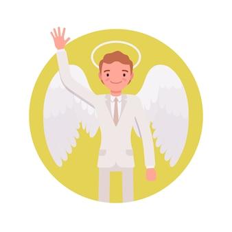 Ange homme dans un cercle jaune
