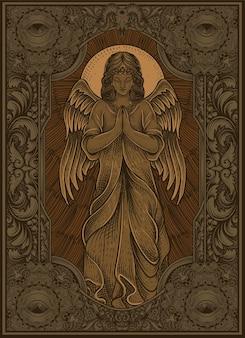 Ange d'illustration priant avec le style de gravure de cru