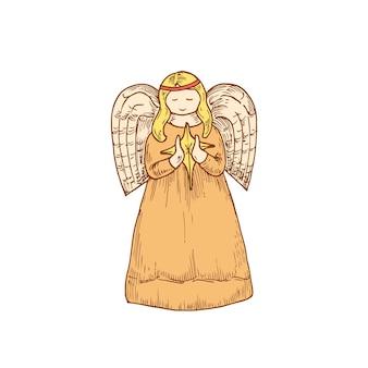 Ange de noël dessiné à la main avec illustration vectorielle de couleur étoile. croquis abstrait. dessin de style de gravure de vacances d'hiver. isolé