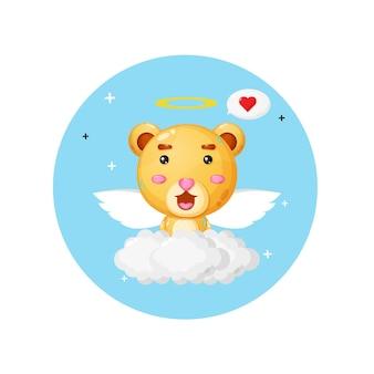 Un ange ours mignon volant au-dessus des nuages