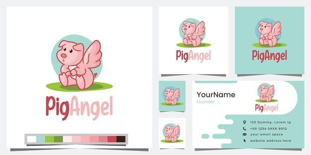 Ange de porc, version dessin animé, inspiration de conception de logo