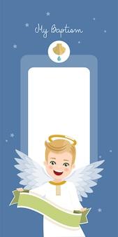 Ange avec ruban. invitation verticale de baptême sur invitation de ciel bleu et étoiles. illustration vectorielle plane