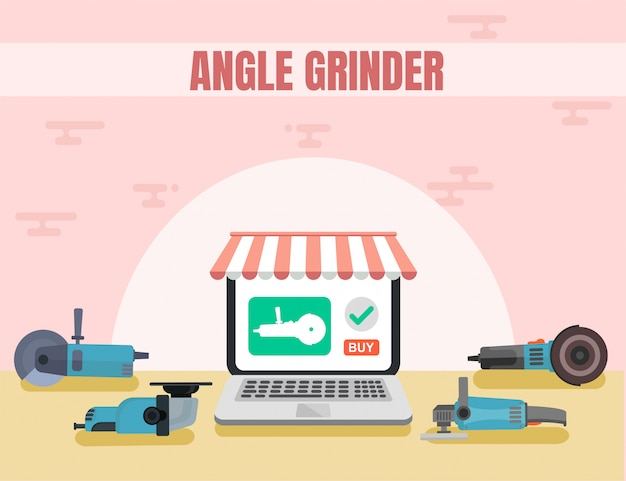 Angle grinder advertising flat boutique de la marque