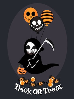 Angle de la mort et fond de ballon halloween.