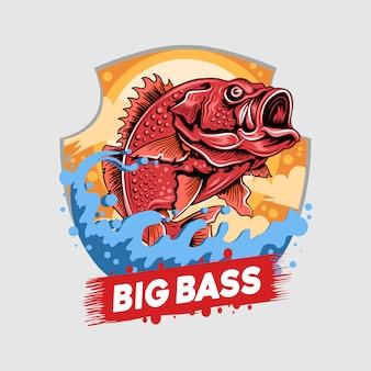 Angler fish red snapper fisherman big bass artwork