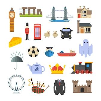 Angleterre, britannique, royaume-uni, vecteur, points de repère, ensemble