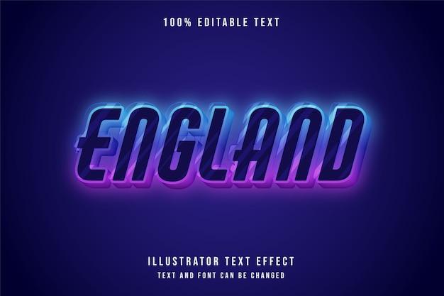 Angleterre, effet de texte modifiable en 3d. style néon