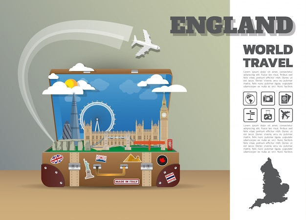 Angleterre landmark global travel and journey infographic bagages 3d design