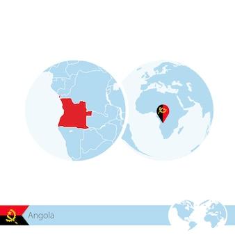 L'angola sur le globe terrestre avec le drapeau et la carte régionale de l'angola. illustration vectorielle.