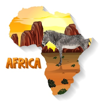 Animal africain sauvage sur la carte