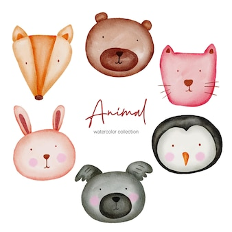 Animal aquarelle. ensemble de jouets pour bébés d'animaux