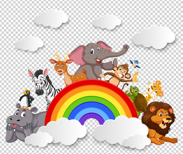 Animal sur l'arc-en-ciel