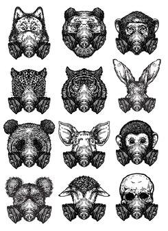 Animal d'art de tatouage portant un masque de protectiondessin et croquis en noir et blanc
