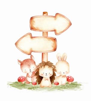 Animal des bois mignon avec illustration aquarelle de modèle de signe de bois