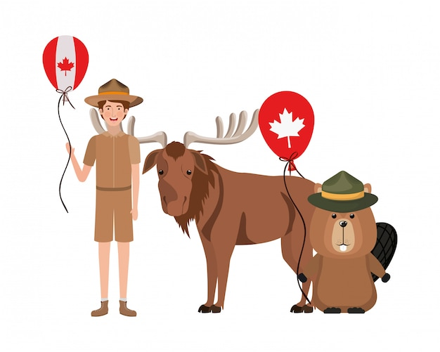Animal castor et orignal du canada
