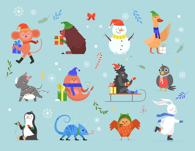 Animal célèbrent le jeu d'illustration vectorielle de noël, collection de zoo de dessin animé avec des personnages de noël d'animaux sauvages célébrant les vacances d'hiver