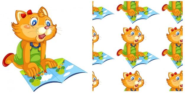 Animal chat isolé avec dessin de livre