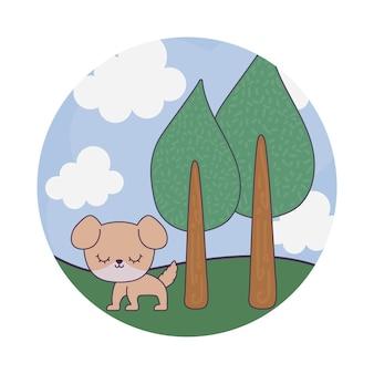 Animal chien mignon en scène de paysage