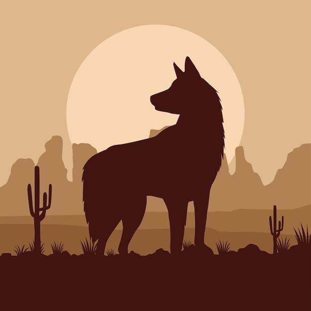 Animal de compagnie chien mignon dans la scène du désert