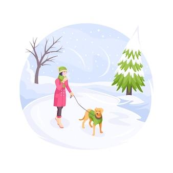 Animal de compagnie marchant en hiver neige femme froide avec chien vector illustration plate isométrique fille avec chien