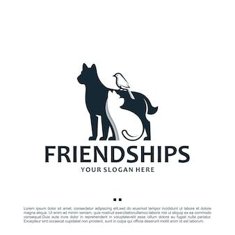 Animal de compagnie, soins, modèle de logo