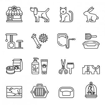 Animal de compagnie, vétérinaire, animalerie jeu d'icônes