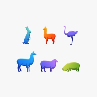 Animal couleur autruche, lapin, lama, alpaga, cochon, illustration vectorielle logo.