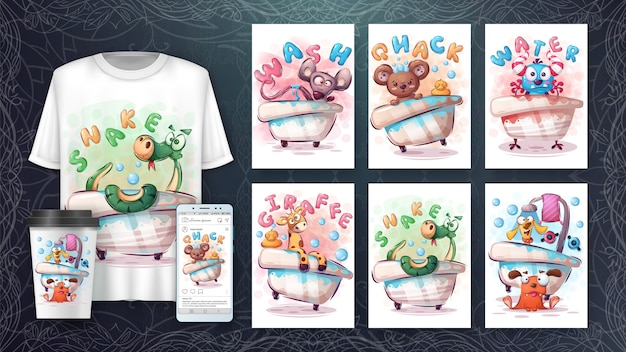 Animal de dessin animé en affiche de salle de bain et merchandising