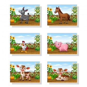 Animal de dessin animé à la ferme