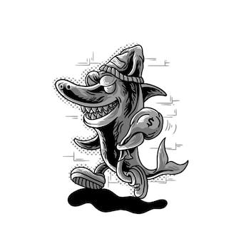 Animal de dessin animé mafia requin