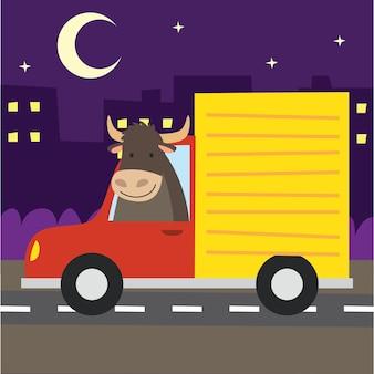 Animal de dessin animé mignon dans la carte de transport