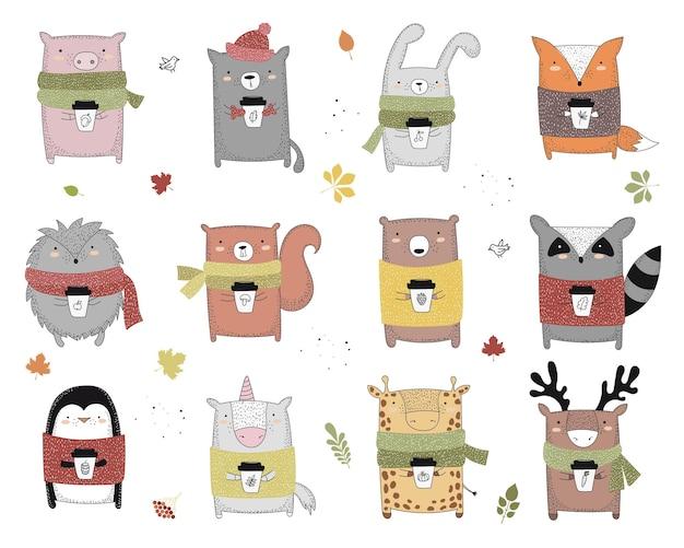 Animal de dessin au trait vectoriel en pull avec slogan sur l'illustration d'automne doodle
