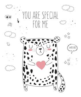 Animal de dessin au trait vectoriel avec slogan sur l'illustration d'un ami doodle