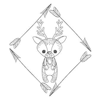 Animal dessin style boho icône vector illustration graphique