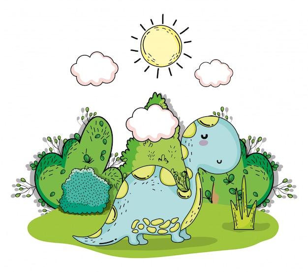 Animal de dino préhistorique de diplodocus avec soleil et nuages