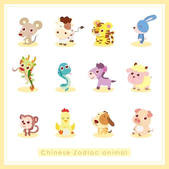 Animal du zodiaque chinois, illustration de dessin animé
