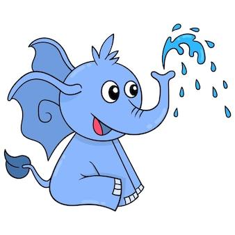 L'animal éléphant est assis en train de faire jaillir de l'eau de sa trompe, art d'illustration vectorielle. doodle icône image kawaii.