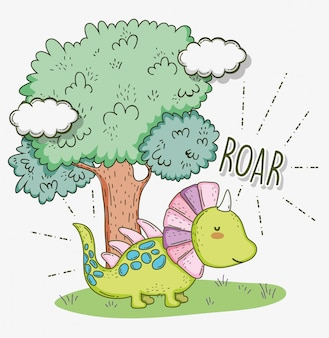 Animal de la faune styracosaurus mignon avec arbre et nuages