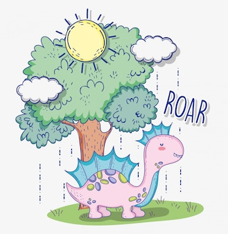 Animal faunique corythosaurus avec arbre et soleil