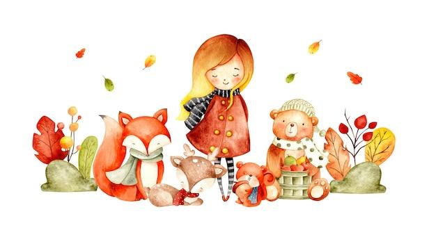 Animal et fille de bannière d'automne d'aquarelle avec la plante et les feuilles