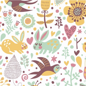 Animal floral leaves seamless pattern fond vecteur