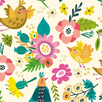 Animal floral seamless pattern vecteur de fond