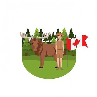 Animal de la forêt d'orignal du canada