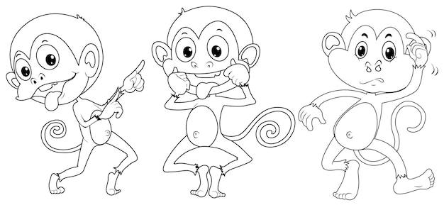Animal de griffonnage pour trois singes