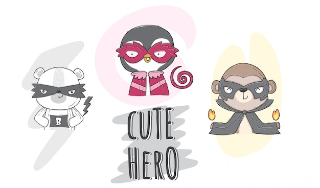Animal de héros mignon illustration plate