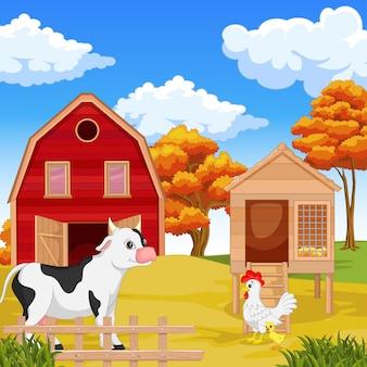 Animal heureux mignon avec fond de ferme